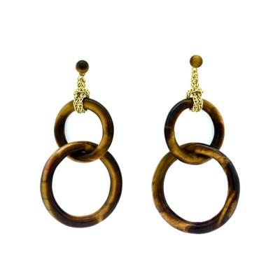 Double tiger eye earrings