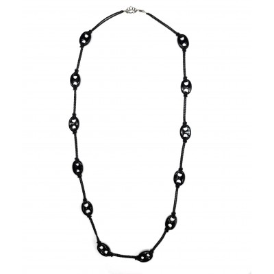 ONYX AMULET LONG NECKLACE